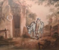 Pair of late Georgian small watercolour on print pictures, boy and girl with donkey and pony, 16cm x
