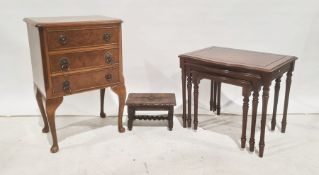 20th century walnut three-drawer chest with canted corners, fluted pilasters, a nest of three
