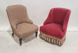 Early Victorian low seated salon chairon turned front legs to white china castors and one further
