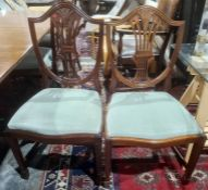 Set of eight Hepplewhite style mahogany reproduction dining chairs