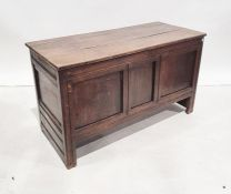 Late 19th/early 20th century oak blanket chest/coffer, the rectangular top above three-panel