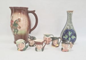 """Royal Doulton large """"Raleigh on Plymouth Ho"""" jug, moulded and painted with figures in Tudor dress"""