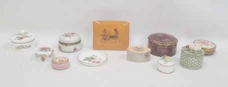 Collection of 11 assorted trinket boxes and coversincluding a Royal Worcester purple ground