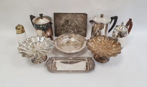 Quantity of silver plate including pair of comports, a photograph frame, bone handled knives, etc.