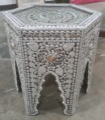 Modern eastern style silver sprayed hexagonal coffee tableCondition ReportThe width from straight to