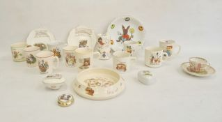 Collection of nurseryware pottery mugs, circa 1930 and later, variously printed and painted with