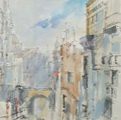 """Brian Ryder (20th century) Pen, ink and wash """"Venetian Canal"""", signed and dated 96 lower centre and"""