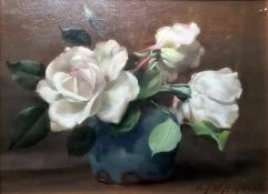 Alfred Frederick William Hayward (1856 - 1939) Oil White roses in vase, signed lower right, 21 x