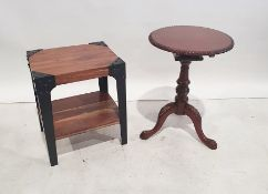 Modern two-tier side table, the rectangular top with iron legs and shelf undertier and a modern