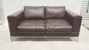 Modern two seater brown leather sofa with brushed steel base