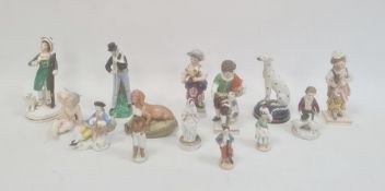 Collection of English and continental porcelain figures, mid 19th century and later, comprising a