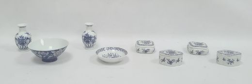 Collection of four Chinese porcelain trinket pots and covers, a pair of oveform miniature vases, 9cm