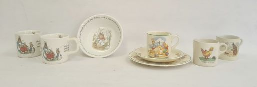 Group  of Wedgwood Beatrix Potter pattern nurserywares, two mugs and a bowl, together with Adam's