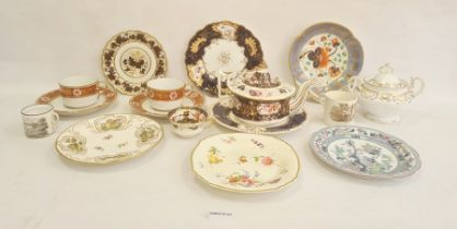 Collection of English pottery and porcelain plates and dishes, circa 1815 and later, including a