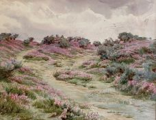 Walter Tyndale (1855/59-1943) Pair watercolour drawings 'On the Christchurch Road' and 'Bell Heather