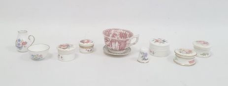 Collection of English porcelain pots and covers painted with bouquets of flowers, a Staffordshire