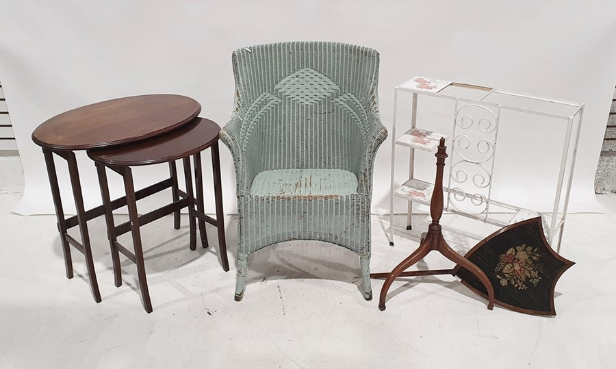 Painted loom armchair, a nest of two tables and a pole screen(3)