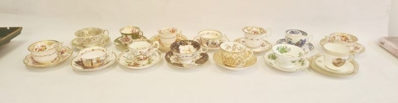 Collection of English pottery and porcelain teacups and saucers, 1815 and later, including