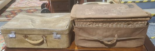 Wicker basket with canvas cover and a suitcase with initials 'PJA' (2)