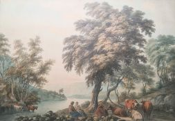 Light (?) Watercolour drawing River landscape, two figures seated with herd of cattle at water's