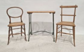 Pine-topped and iron-based table(converted sewing machine) and two cane-seated chairs(3)