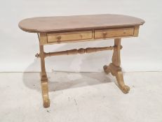 Early 20th century shaped top dressing table/deskwith two drawers, trestle end supports, on