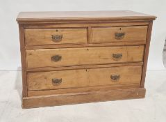 Early 20th century walnut chestof two short over two long drawers, on plinth base, 120cm x 82cm