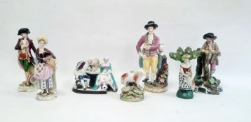 Collection of English and continental pottery and porcelain figures, 19th century and later,