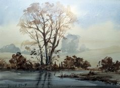 David Short (?) (20th century) Watercolour Tree by pond, signed lower left, 27 x 36.5 cm