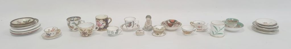 Group of English pottery and porcelain dolls' teawaresincluding teacups and saucers, a lustre