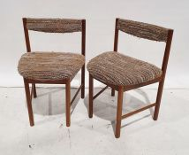 Mid century set of six teak chairswith oatmeal upholstery and matching dining table(7)