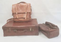 Gladstone bag, a large leather satchel and a leather-bound vintage suitcase(3)