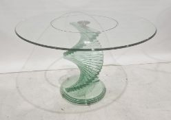Modern glass breakfast table, the circular top on stepped glass spiral base, approx 120cm diameter