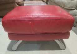 Red leather upholstered footstool