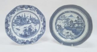 Two Chinese export blue and white octagonal plates, 18th century, printed and painted with figures