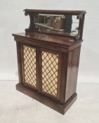 Victorian rosewood chiffonier, the top with three-quarter galleried shelf above mirror back, two