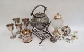 Victorian kettle on stand, the stand modelled naturalistically as branches and various other items
