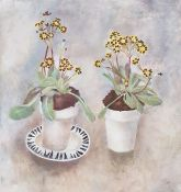 Tessa Newcomb (b.1955) Oil on board 'Primula Veris Gold Lace' Initialled lower right and signed to