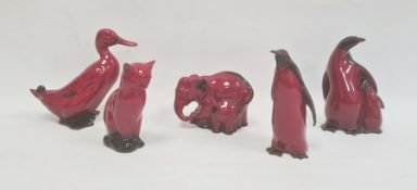 Royal Doulton flambe model of a seated cat, 11.5cma model of an elephant and youngHN3548, 8cm x