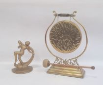 Late Victorian/Edwardian brass dinner gong on stand with beater and a metal gold painted Art Deco