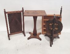 Side table, the rectangular top with rounded corners, unusual base and design, an Art Nouveau