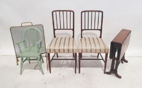 Brass and wire firescreen, a Sutherland table, two chairs and a child's wheelback chair(5)