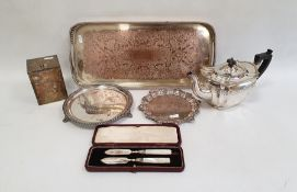 Silverplated teapot, a two handled silver plated tray and various other items