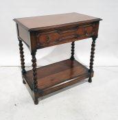 Early 20th century oak single drawer sidetable, the rectangular top above single drawer, barleytwist