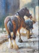 Mick Cawston (20th century) Oil on board Farrier with horse Signed lower right 1990 34cm x 23.5cm (