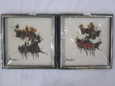 Brandon (20th century) Pair of oils on board Military skirmishes, signed lower left, 25cm x 25cm (