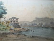 Chinese school Watercolour drawings Fishermen at the water's edge unloading fish, 23cm x 29.5cm