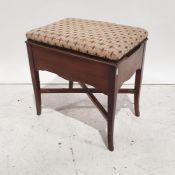 20th century mahogany piano stoolwith needlework upholstered seat