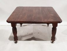 19th century mahogany extending dining table, the rectangular top with moulded edge, canted corners,