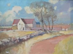 British school (20th century) Oil on board Farmstead with trees, signed indistinctly lower left,